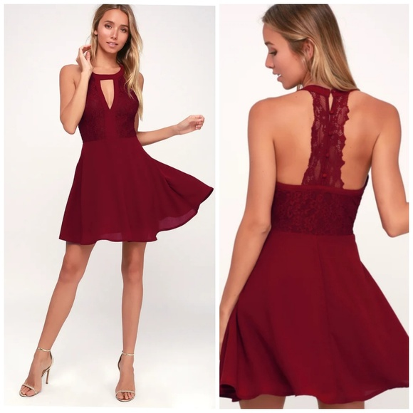 Lulu's Dresses & Skirts - Lulu's Ready To Party Wine Red Lace Skater Dress